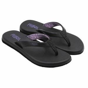 NWT Flojos Flip Flops Black and Purple Size 6